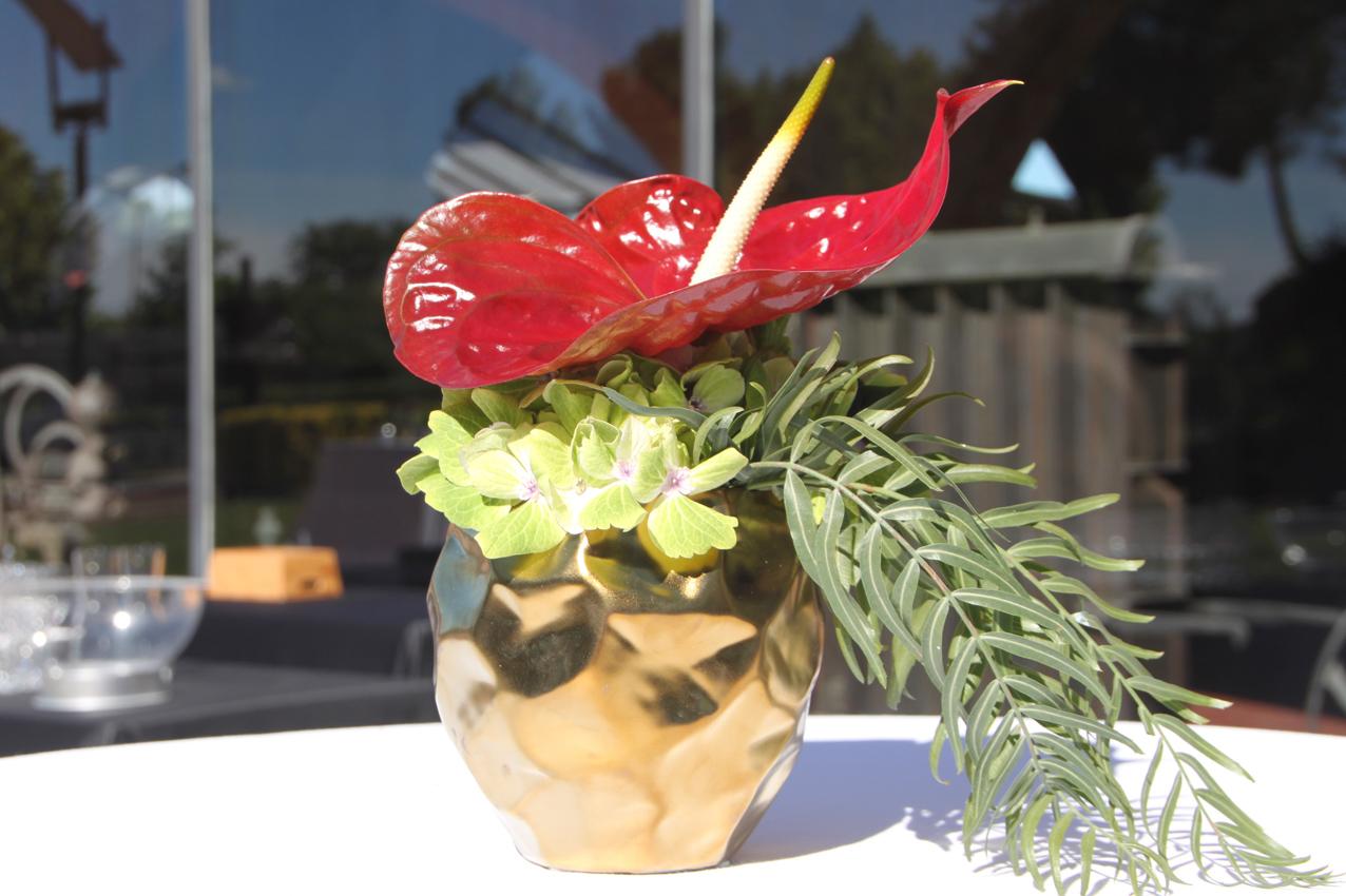 Detalle decoración. Flor roja en evento en Barcelona